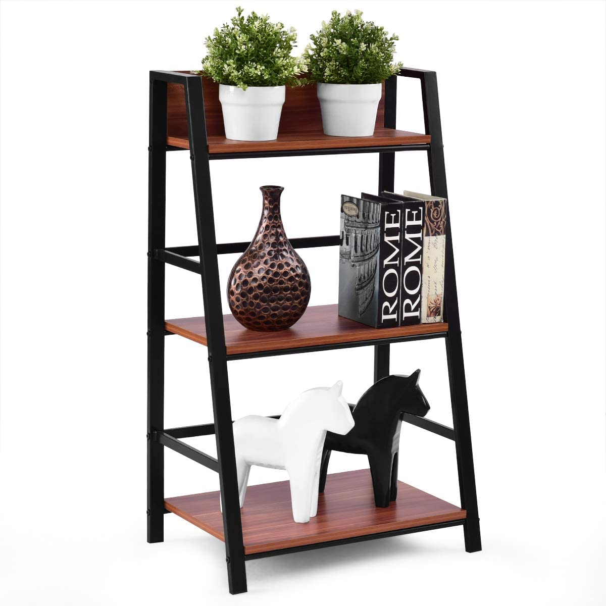 Tangkula 3-Tier Ladder Shelf Home Office Bookshelf Plant Display Stand Storage Shelves Multipurpose Corner Shelf Bookcase