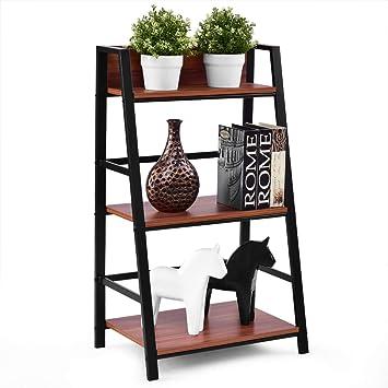 3-Tier White MDF Ladder Style Storage Shelf Unit Shelving Display Shelves Decor