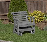 Amish Heavy Duty 600 Lb Roll Back Pressure Treated Porch Patio Garden Lawn Outdoor GLIDER CHAIR-2 Feet-GREY-Made in USA