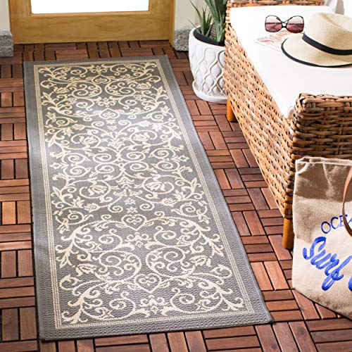 (Safavieh Courtyard Collection CY2098-3606 Grey and Natural Indoor/ Outdoor Runner (2'3