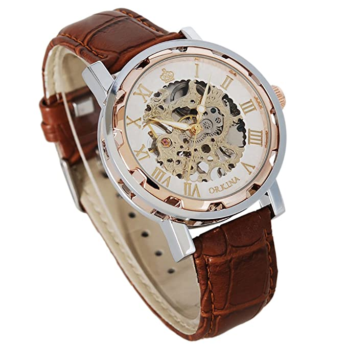 Men's Steampunk Goggles, Guns,  Accessories GuTe Steampunk Bling Skeleton Mechanical Hand-wind Wristwatch Silver Rose-gold Case $15.50 AT vintagedancer.com