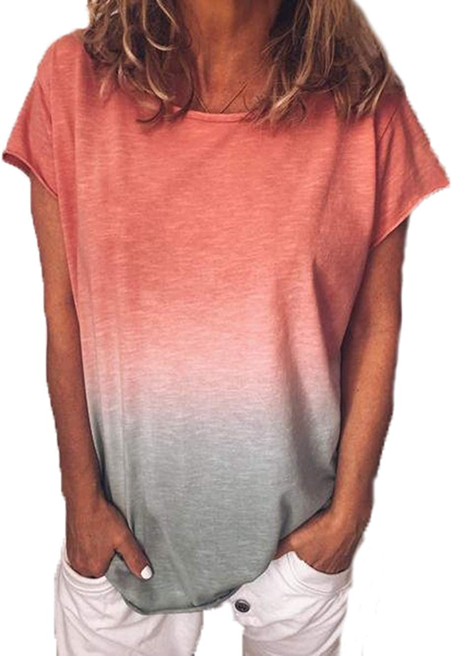 Yutila Damen Kurzarm T-Shirt Beil/äufig Farbverlauf Shirt Sommer Lose Shirt Tees