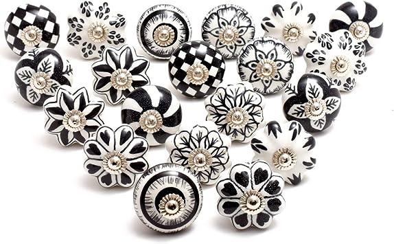 Sadivi Boutons darmoire en c/éramique assortis Noir et blanc Vintage Shabby Chic Porte de placard et tiroirs de tiroir Quincaillerie chrom/ée 12, noir et blanc