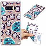 Galaxy Note8 Case, Note8 Cover, MerKuyom [Clear Transparent] [Slim-Fit] Flexible Gel Crystal Soft TPU Case Skin Cover For Samsung Galaxy Note8 Note 8 , W/ Stylus (Lovely Happy Penguins Fish)