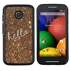 Texto de navidad del oro del brillo de Bling- Metal de aluminio y de plástico duro Caja del teléfono - Negro - Motorola Moto E / XT1021 / XT1022