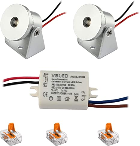 4er 1W LED Einbaustrahler Minispot Einbauleuchte Spot Mini Einbau Strahler Set