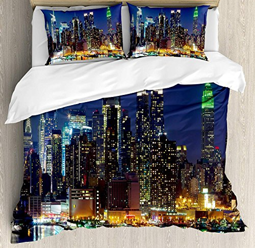 Queen Size New York 3 PCS Duvet Cover Set, NYC Midtown Skyline in Evening Skyscrapers Amazing Metropolis City States Photo, Bedding Set Bedspread for Children/Teens/Adults/Kids, Royal Blue