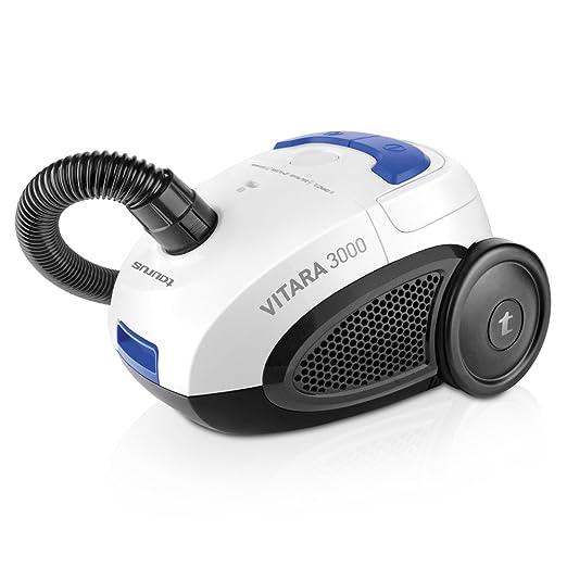 Taurus NEW-948.129 Vitara 3000 New-Aspiradora con bolsa (diseño compacto, sistema Energy Eco, filtro lavable, capacidad 2 l), blanco, azul y negro, ...