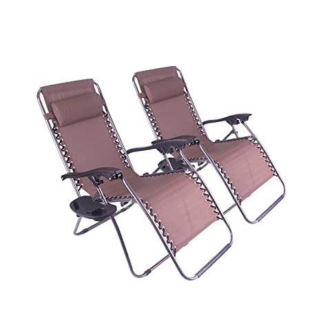 Polar Aurora Zero Gravity Chairs Recliner Lounge Patio Chairs Folding Cup Holder 2 Pack Brown