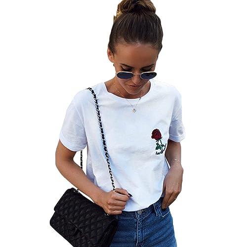 WanYang Verano Chica Casual Tops Camisetas Floral Impresión Blusa De Camiseta De Manga Corta