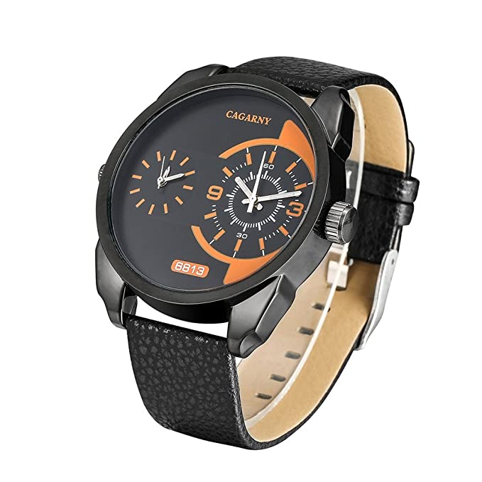 Amazon.com: Cagarny Burst waterproof mens quartz watch Korean fashion business personality large dial dual time zone watch (Color : 1) : Watches