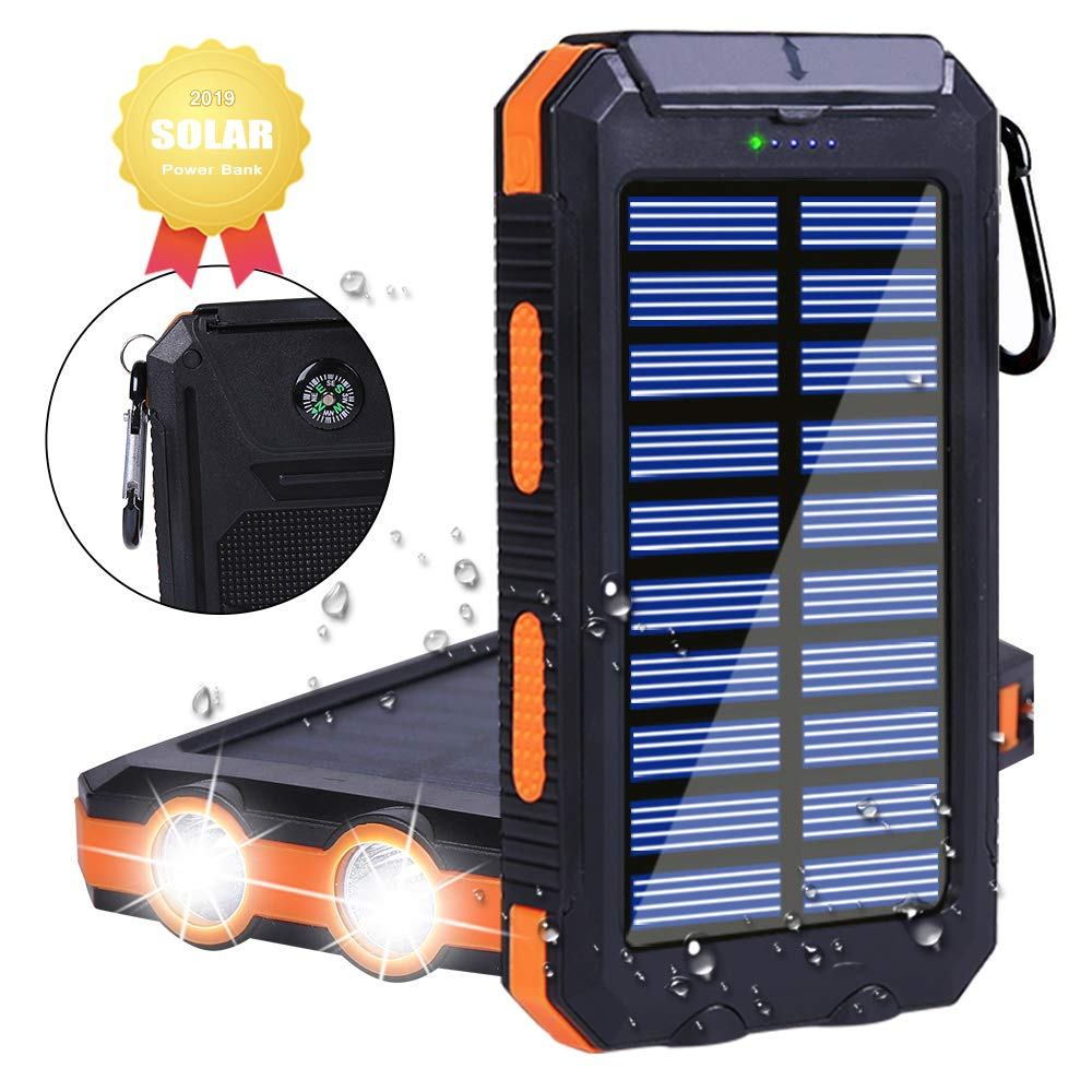 Solar Charger Power Bank 20000mAh, Outdoor Portable Waterproof Solar Battery, Solar Energy Generation, LED Flashlight SOS Mode, USB Output, For Adventure Camping Backpacking Emergency Charger (Orange) by Dayleer