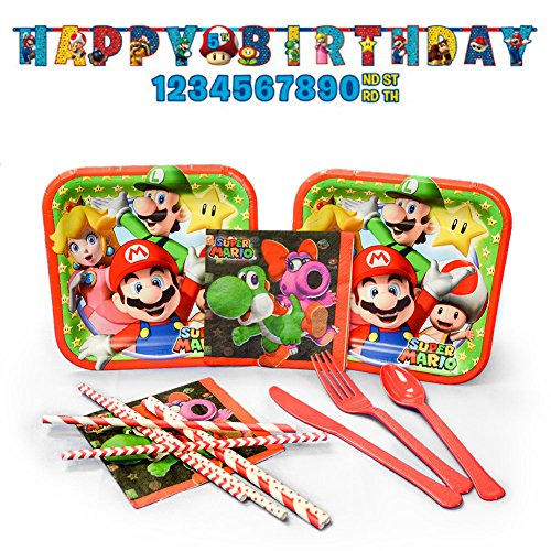 Super Mario Party Supplies Pack for 16 Guests: