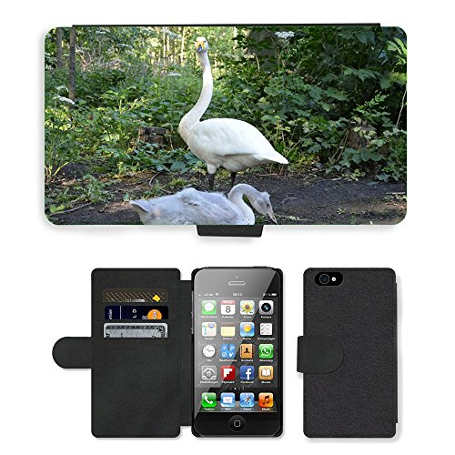 Just Phone Cases PU Leather Flip Custodia Protettiva Case Cover per // M00128725 Swan Oisillon Fly Ailes Plume // Apple iPhone 4 4S 4G
