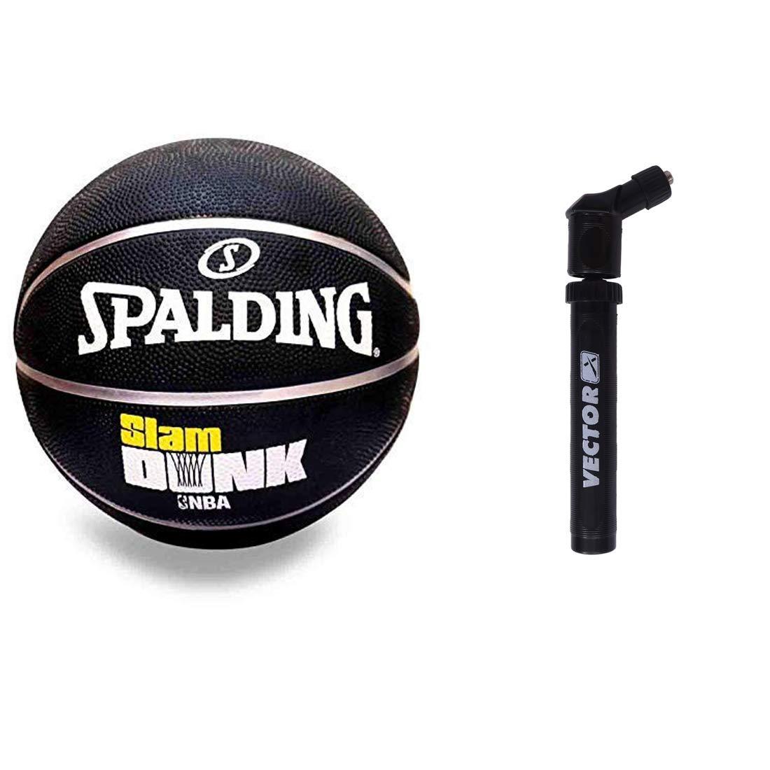 Spalding NBA Slamdunk Rubber Basketball with Air Pump