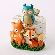 Fashioncraft Woodland Animals Nursery Money Bank - 4.5 x 3.5 x 3 inch - Polyresin - 3D Design - Handpainted - Gender Neutral for Boys and Girls - Baby Room Decor