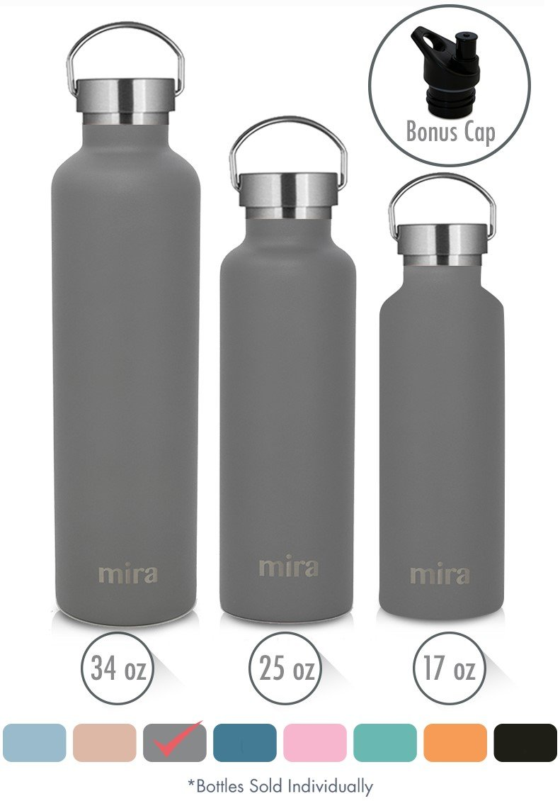 MIRA Alpine Stainless Steel Vacuum Insulated Water Bottle with 2 Lids, Durable Powder Coated Thermos, Multiple Sizes & Colors MIRA Brands