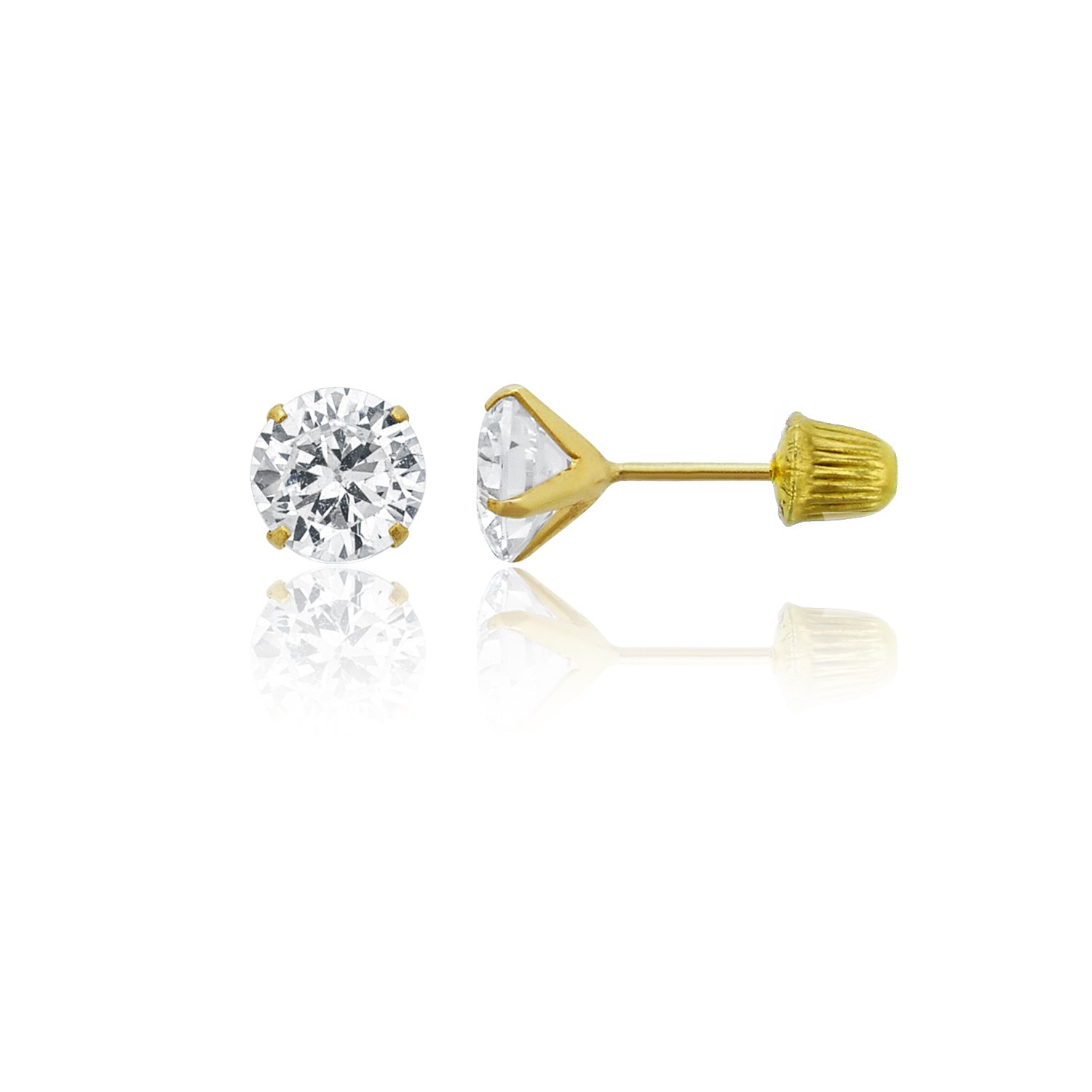14k Yellow Gold mm Round Solitaire Ball Screw Back Stud Earrings YGI GROUP FZE4638Y2W