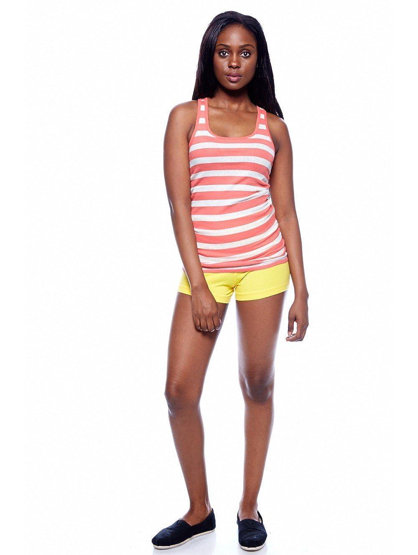 Amazon.com: ACTIVE BASIC Womens Yoga Shorts Fold Over Waist Band (Large, Yellow): Clothing