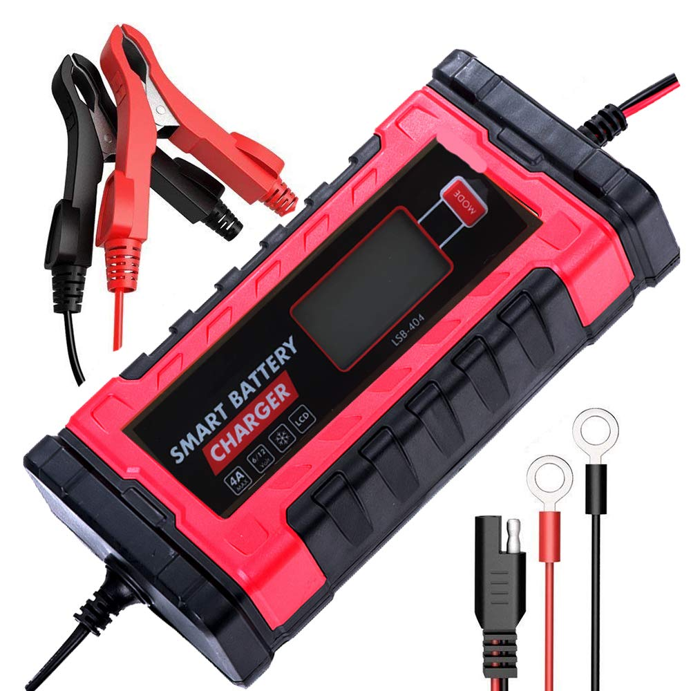 qijin Battery Charger Automatic Maintainer 6V//12V 4Amp Portable Smart Float for Auto Car Motorcycle 4A