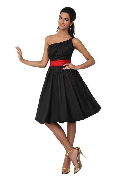 Vestidos de dama de honor rojo con negro
