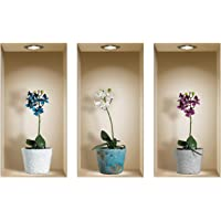 The Nisha Art Magic 3D Vinyl Removable Wall Sticker Decals DIY, Set of 3, Colorful Orchid 533N-AU
