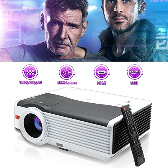 "WIKISH 5000 Lumen LED Video Projector Support 1920x1080/200"" Large Display/Zoom"