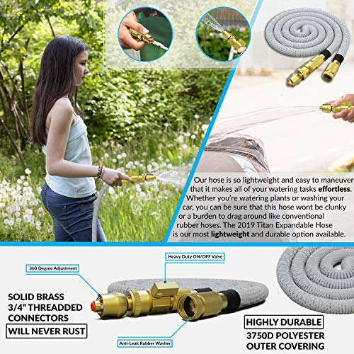 TITAN 15FT Garden Hose - All New Expandable Water Hose with Dual Latex Core 3/4 Solid Brass Fittings Expanding Extra Strength Fabric Flexible Hose with Jet Nozzle and Washers