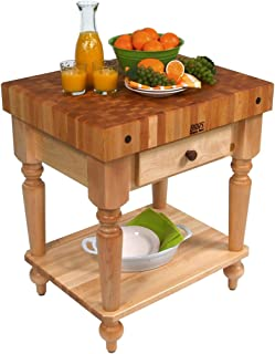 "product image for John Boos Maple Rustica Butcher Block with Solid Shelf - 48"" x 24"" with shelf, Walnut Stained Base"