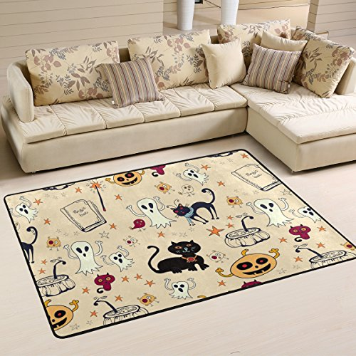 Halloween Decor Spooky Ghost Black Cat Pumpkin Area Rug Pad Non-Slip Kitchen Floor Mat for Living Room Bedroom 4' x 6' Doormats Home Decor