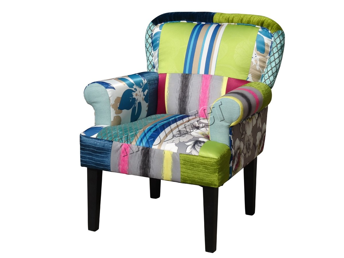 FoxHunter Patchwork Chair Fabric Vintage Armchair Seat Dining Room Living  Bedroom Office Furniture PC005: Amazon.co.uk: Kitchen U0026 Home