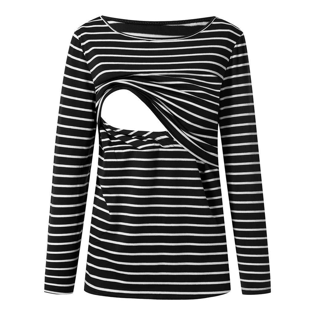 5c87f5cd4 Amazon.com: AMSKY 2019 Maternity Clothes, Womens Nursing Baby Stripe Long  Sleeve Round Neck Breastfeeding Tops Blouse: Clothing