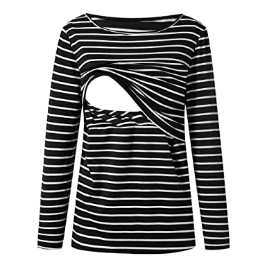 aa0a5a105dc Womens Maternity Clothes Mama Long Sleeve Striped Nursing Layered Top Breastfeeding  T-Shirt Tops (