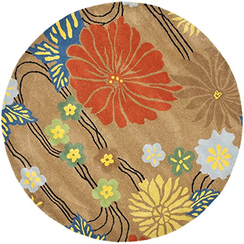 (Safavieh Soho Collection SOH738A Handmade Brown and Multi Premium Wool Round Area Rug (6' Diameter))