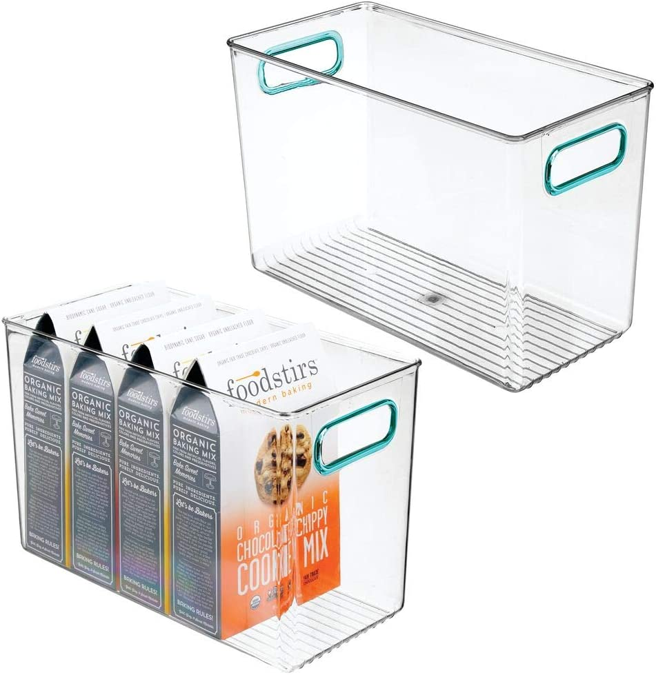 mDesign Plastic Food Storage Container Bin with Handles - for Kitchen, Pantry, Cabinet, Fridge/Freezer - Organizer for Snacks, Produce, Vegetables, Pasta - BPA Free, Food Safe - 2 Pack - Clear/Blue