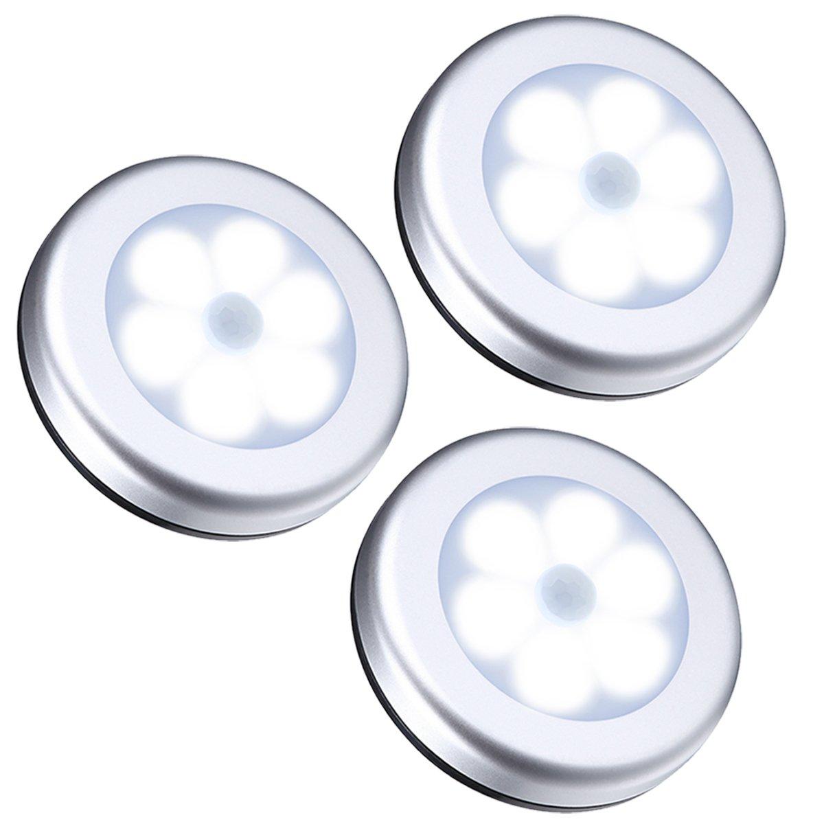 【Neue Version】AMIR Nachtlicht mit Bewegungsmelder (3 Stück, Weiß), 6 LED Bewegungsmelder Licht, Auto EIN/AUS Led beleuchtung sensor, Batteriebetrieben Schranklicht , Schrankleuchten für Flur, Schlafzimmer, Küche(Silber) Weiß) Küche(Silber)
