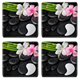 Liili Square Coasters Non-Slip Natural Rubber Desk Pads IMAGE ID 32255082 spa setting of white pink hibiscus flowers symbol Yin Yang and natural bamboo on zen basa
