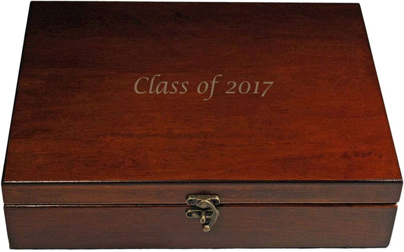 WE Games Custom Engraved Wooden Treasure Box with Lid & Brass Latch - Redwood Finish