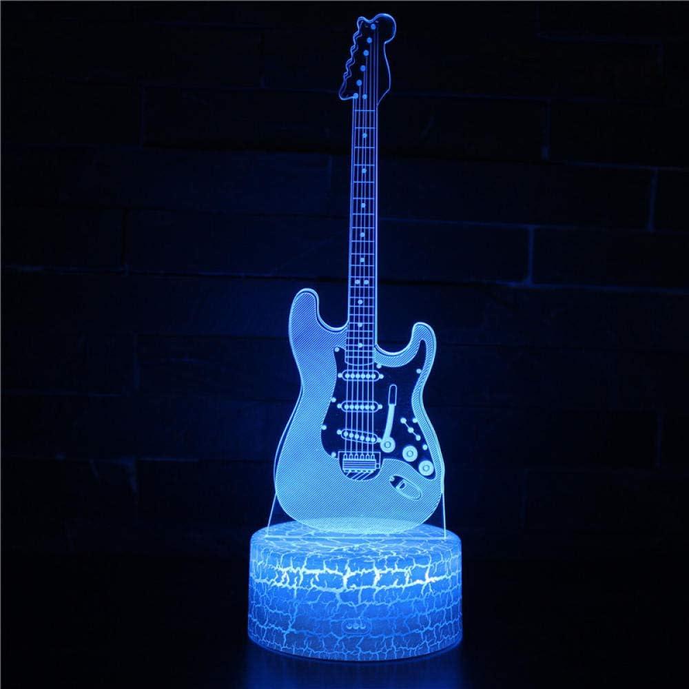 7 colores Guitarra Drum Sax LED 3D Ilusión Visual Noche Luz Noche creativa Dormitorio Decoración de la mesa Luz Novedad Lámpara colorida guitarra 3 acordeón con control remoto Usb recargable economi: Amazon.es: