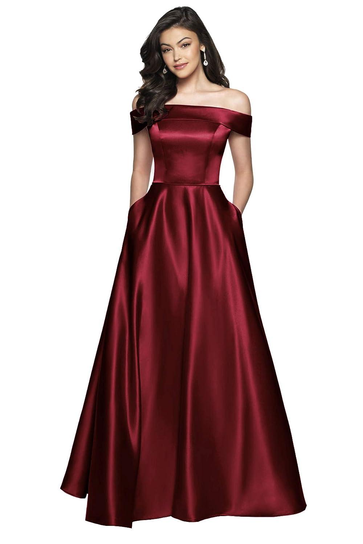 Burgundy Beauty Bridal Women's Off The Shoulder Satin Prom Dress Split Evening Party Gowns Long Z43