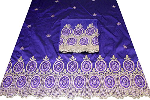 Shubham Collections African Nigerian Embroidered Taffeta Silk George Wrapper Fabric With Blouse 13115/2/21 (Purple) (Collection Wrapper)