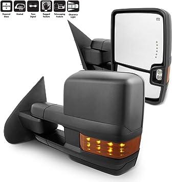 PAIR 14-18 Silverado Sierra Power Heated Amber LED Signal Clearance Tow Mirrors