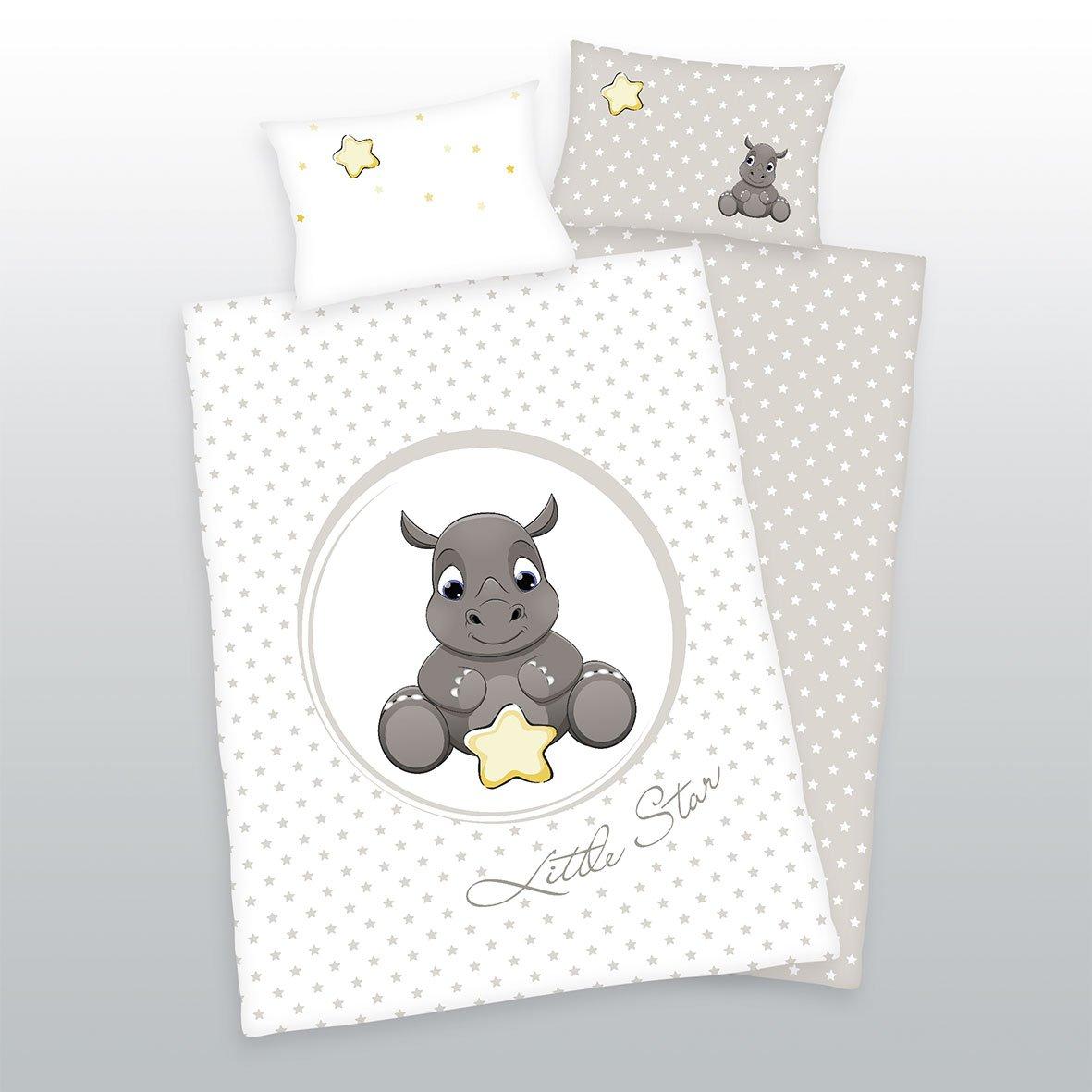3pièces Baby Parure de lit réversible Motif: Rhinocéros–100x 135cm + 40x 60cm + 1Drap Housse en flanelle blanc 70x 140cm Herding/Müskaan