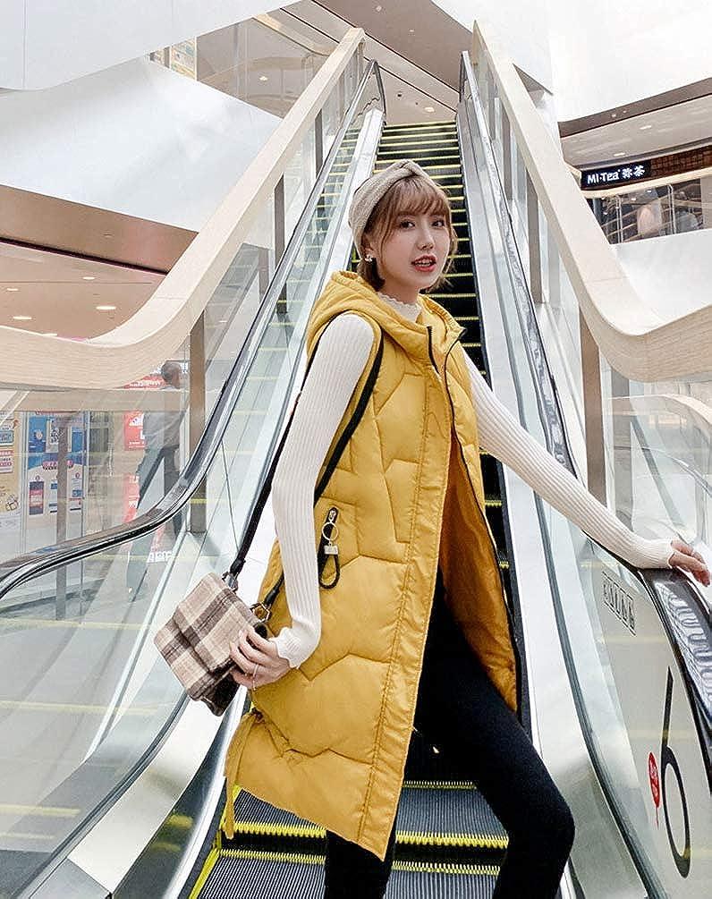 WanYangg Femme Doudoune sans Manches avec Capuche Gilet Veste Longue Ultra Légère Manteau en Duvet à Capuche Zippée Parka Blouson Veste Manteau 1 # Jaune