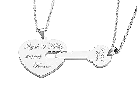 5ebbc6bc18 Amazon.com : Personalized Silver Heart & Key Necklace Set : Key Tags ...