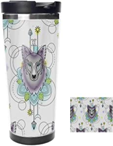Stainless Steel Flask Abstract Wolf Watercolor Dream Catcher Vacuum Insulated Bottle Leak-Proof Travel Mug tumbler,525ml 18oz