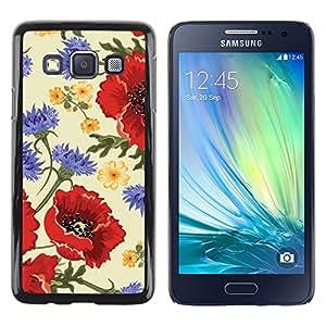 LECELL--Funda protectora / Cubierta / Piel For Samsung Galaxy A3 SM-A300 -- Flower Red Vintage Vignette --