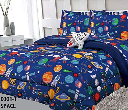 - Golden Linens Multicolor Navy Blue Solar System Space Ships & Rockets Universe Galaxy Stars Twin Size Comforter Set for Boys/Kids Bed in a Bag with Sheet Set & Decorative Toy Pillow # 6 Pcs Space