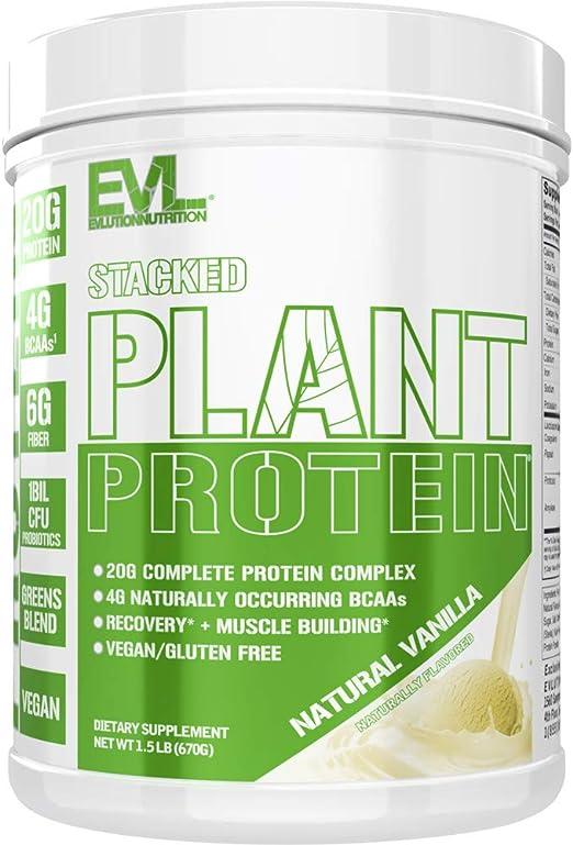 Stacked Plant Protein   Vainilla Natural   Vegano, Sin GMO ni Gluten   Probióticos, BCAAs, Fibra, Cerezo Ácido   Complejo Proteínico Completo a Base ...