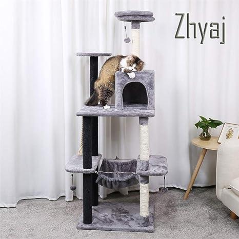 Zhyaj Rascador para Gatos Casa Altura 175Cm Árboles De Gato Y ...
